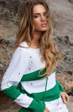 FIMFI I296 sweter zielony Rewelacyjny krótki sweterek damski,  wykonany z miękkiej sweterkowej dzianiny w modne pasy, sweter ozdobiony dziurkami Prepping, Style, Fashion, Swag, Moda, Fashion Styles, Fasion
