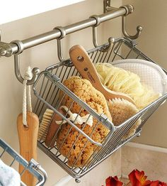 Utilize Hanging Storage -- This is the one I meant to pin. Idea for storing stuff in my new little bathroom -- simple and efficient