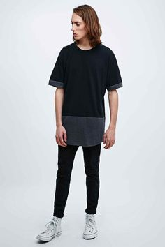 Worland Black Kenny Panel Tee in Black and Grey