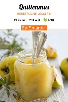 Quince jam - Make quince puree yourself. Quinces are now in season! Healthy Eating Quotes, Healthy Eating Habits, Healthy Eating Recipes, Chutneys, Diets For Picky Eaters, Holiday Party Appetizers, Healthy Recipes On A Budget, Wonderful Recipe, Vegan Sweets
