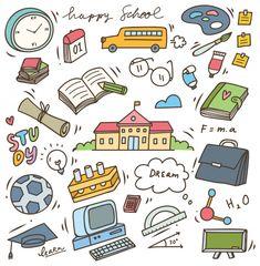 School supplies doodle, back to school vector element premium vector animal Cute Notes, Good Notes, Cartoon Stickers, Cute Stickers, Kawaii Drawings, Cute Drawings, Printable Stickers, Planner Stickers, Doodle Art