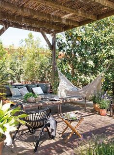 Pergola designs are variate and they each serve their users in different ways. So what is a pergola anyway? There are several types and various pergola plans, the open top type being the most popular one. Outdoor Garden Furniture, Outdoor Rooms, Outdoor Gardens, Outdoor Living, Outdoor Decor, Roof Gardens, Pergola Designs, Patio Design, Terrace Design