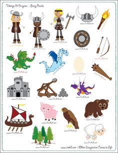 CreKid.com - FREE Story Rocks Printouts - Viking Story Rocks - Spark your child's imagination and creativity. Preschool - Pre K - Kindergarten - 1st Grade - 2nd Grade - 3rd Grade. www.crekid.com