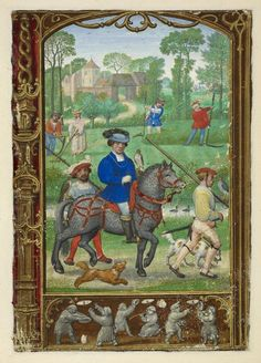 From the Medieval Manuscripts blog post ' A Calendar Page for July'. Image: Miniature of a nobleman going hawking, with haymakers behind him, from the Golf Book (Book of Hours, Use of Rome), workshop of Simon Bening, Netherlands (Bruges), c. 1540, Additional MS 24098, f. 24v