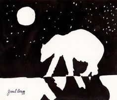 Draw the contour, use black paint on white paper to paint the negative space. Add snow with white paint dots. Polar Bear At Night On Arctic Ocean by Janel Bragg Winter Art Projects, High School Art Projects, Elements Of Art Space, Notan Art, Negative Space Art, Shadow Art, Art Lessons Elementary, Bear Art, Gravure