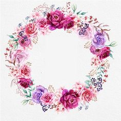 Watercolor Burgundy Wreath & Bouquets with Floral elements Peonies and Roses. Wreath Watercolor, Watercolor Flowers, Theme Mickey, Diy And Crafts, Arts And Crafts, Peony Rose, Floral Border, Flower Frame, Decoupage