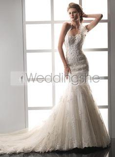Dramatic Trumpet/Mermaid Removable Halter Sweetheart Chapel Train Wedding Dress(Free Shipping)