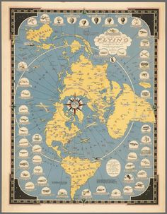The Story Map of Flying : Flat Earth : Art Print : Map Archival Reprint Company