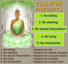The five precepts are in a way alike to the four noble truths but instead are rules that every Buddhist should adhere to: Do not harm others; Do not steal; Do not lie; Do not misuse sex; and do not consume alcohol or drugs. Buddhist Wisdom, Buddhist Quotes, Buddha Buddhism, Spiritual Wisdom, Nirvana Buddhism, Buddha Life, Spiritual Messages, Spiritual Health, Buddhism