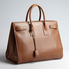 SAINT LAURENT Brown Calfskin 'Sac De Jour' Top Handle Bag (http://bluef.ly/r6jc3)