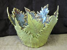 www.LisaDPottery.com Handcrafted Ceramic Fern Bowl by Lisa D Pottery x