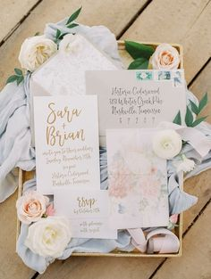 This gold and blush wedding invitation set is a lovely color scheme for spring and summer