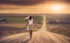 niña, la carretera, la puesta del sol, fondo, papel pintado