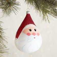 European Glass Santa Claus Face Cone Ornament