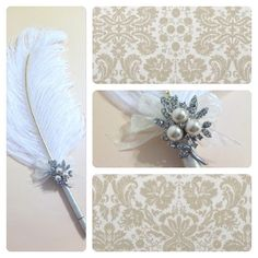 Large Elegant Ivory Feather Pen with Pearl by LoveMimosaFleur, $29.50