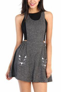 LoveMelrose.com From Harry & Molly | Kitty Overall Dress - Gray