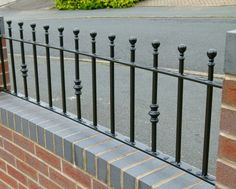 stunning wrought iron railing design ideas with red brick wall plus stone drivew. - stunning wrought iron railing design ideas with red brick wall plus stone driveway for porch decora - Black Stair Railing, Wall Railing, Black Stairs, Garden Railings, Garden Gates, Garden Stairs, Metal Handrails, Wrought Iron Stairs, Iron Balcony