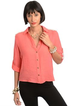 Crochet Gathered Back Button Shirt