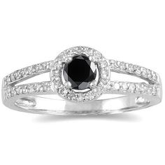 1/2 CTW Black and White Diamond Ring in 10K White Gold - SPR12344BK7.0