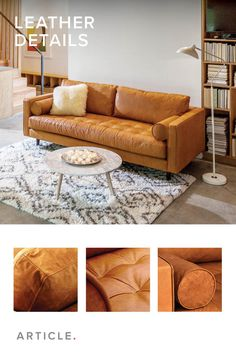 Buttery-soft leather, tufting and bolsters create the ultimate mid-century modern sofa.