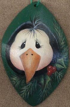 Christmas Penguin Hand Painted Wooden by SingleWitchDesigns, $8.00