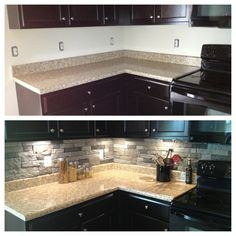 My before and after kitchen using AirStone.