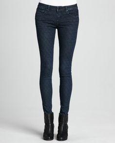 New York Diamond-Stitched Skinny Jeans, Dark by D-ID Denim at Neiman Marcus.
