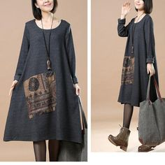 Women Casual Loose Round Neck Long Sleeve Dress