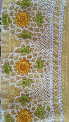 Look Look Endless Full 107 Crochet Towels and Headscarf Needlework Model - Crochet - Yeni Hobby Crochet Slipper Pattern, Crochet Lace Edging, Crotchet Patterns, Crochet Borders, Crochet Slippers, Thread Crochet, Love Crochet, Filet Crochet, Irish Crochet
