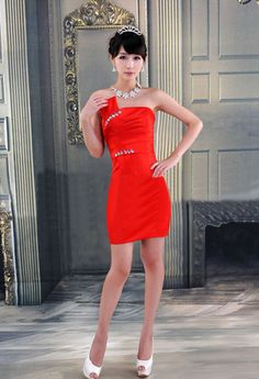 Delicate Sheath Strapless Ruffles and Rhinestone Embellished Satin Short Evening Dress