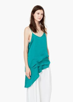 Flowy fabric Double layer V-neck Thin adjustable straps Mango Outlet, Online Shopping Sites, Fashion Sale, Ruffle Top, V Neck, Tank Tops, Fabric, Beauty, Manila