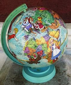 Vintage Walt Disney World Scholar Globe Art with Disney Characters from Alice in Wonderland, Snow White, Peter Pan, Sword and the Stone etc Etsy.