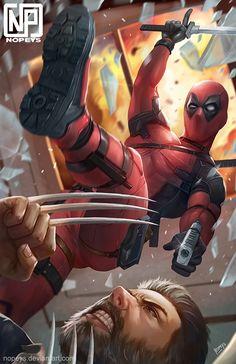 Deadpool V Wolverine! Art by Nopeys on . Marvel Dc Comics, Marvel Heroes, Marvel Characters, Marvel Avengers, Hulk, Thor, Black Widow, Marvel Universe, Hawkeye