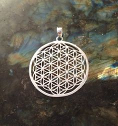 Flower of Life Pendant, Sterling Silver Plated, Large Size. Sacred Geometry Jewelry.