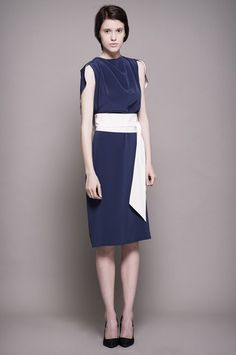 Navy Silk Dress with White Belt click for more information Cape Dress, Silk Dress, White Belt, Dresses For Work, Navy, Sleeves, Shopping, Collection, Closet
