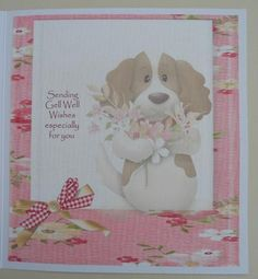 puppy love insert on Craftsuprint designed by Cynthia Berridge - made by linda short - Printed on matt photo paper.Trimmed and attached to my matching card. Added apersonal sentiment as I am sending it as a get well card.The perfect finishing touch. - Now available for download!