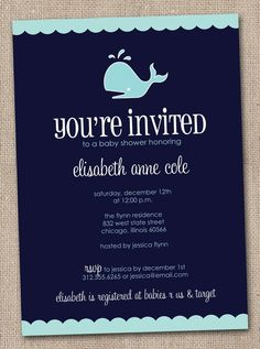 Baby shower whale invitation