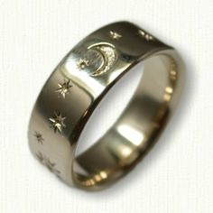 14kt Yellow Gold Sun, Moon and Stars Wedding Band