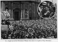 A young Hitler cheers the start of World War One, August 1914