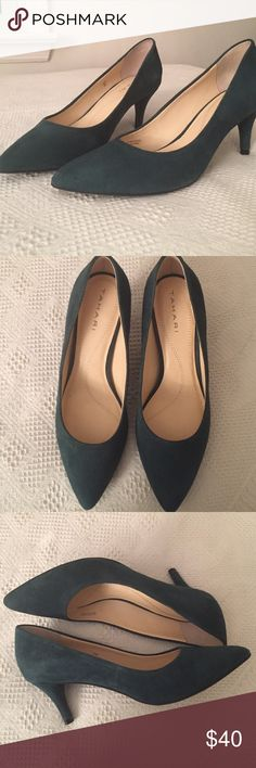"""Completely gorgeous teal suede pumps! Lovely warm teal color. Excellent condition, in the box. (Only worn in the house for a short time). 2.75"""" heel. I love these shoes but I can't wear heels anymore. Sad for me, good for someone else to enjoy these wonderful shoes! Tahari Shoes Heels"""