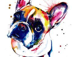 Schwarzes French Bulldog Frenchie Kunstdruck Print von WeekdayBest