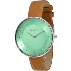 Skagen Gitte Light Green Dial Light Brown Leather Strap Ladies Watch ($69) ❤ liked on Polyvore featuring jewelry, watches, skagen jewelry, skagen, analog wrist watch, water resistant watches and dial watches
