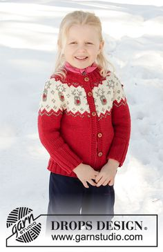 Little Red Nose Jacket - Knitted jacket for babies and children with round yoke in DROPS Merino Extra Fine. The piece is worked top down, with Nordic pattern. - Free pattern by DROPS Design Baby Knitting Patterns, Baby Sweater Knitting Pattern, Mittens Pattern, Knitting For Kids, Crochet Cardigan, Baby Patterns, Free Knitting, Knit Crochet, Crochet Patterns