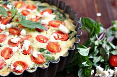 Superfood spinach is the star of the show in this healthy crustless quiche with tomatoes, onions and feta. Delicious warm, room temp, or chilled - this is a versatile and nutritious dish! Isn't this GORGEOUS? Super healthy (especially since I opted to make this a crustless quiche) with so much color and flavor! Spinach is a hot favorite with The Husband, in pretty much all forms: fresh, frozen, or canned. I've heard tales of him as a kid opening cans of spinach and devouring them afte...