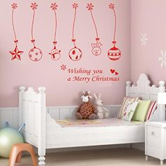 Iusun Diy Merry Christmas Bell Ball Xmas Wall Sticker Window Room Decal >>> Want to know more, click on the image.