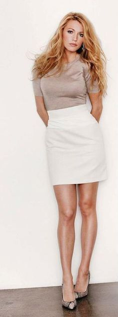 gray top white skirt. Simple women fashion outfit clothing style apparel @roressclothes closet ideas