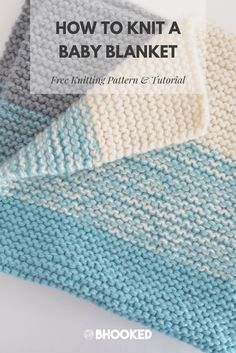 How to knit an easy baby blanket Click through for the free pattern and video tutorial BHooked Knitting FreeKnittingPattern Easy Blanket Knitting Patterns, Easy Knit Baby Blanket, Baby Blanket Tutorial, Free Baby Blanket Patterns, Beginner Knitting Patterns, Knitted Baby Blankets, Free Knitting, Beginner Knitting Blanket, Easy Knitting Projects
