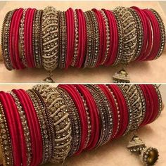 Darling Boho jewelry bangles,Cute jewelry classy and Jewelry aesthetic gift. Silk Thread Bangles, Thread Jewellery, Antique Jewellery, Bangle Set, Bangle Bracelets, Necklaces, Bridal Bangles, Bridal Jewelry, Thread Bangles Design