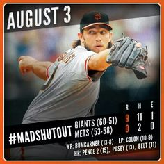 8/3/2014 - Bumgarner throws complete game, 10Ks, 2 hits, no runs!! And he scored twice!