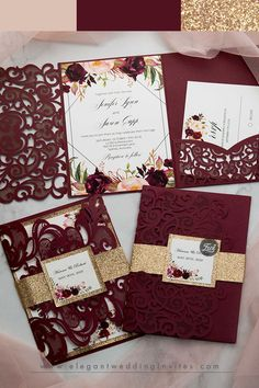 Affordable Red and Burgundy Wedding Invitations from EWI burgundy and rose gold wedding color inspiration wedding invitations Burgundy Wedding Invitations, Quince Invitations, Wedding Invitation Cards, Wedding Cards, Invitations Online, Invitation Wording, Invite, Gold And Burgundy Wedding, Gold Wedding Colors